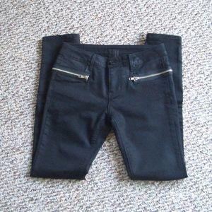 RtA black hip zip stretch pants ankle zip jeans 26